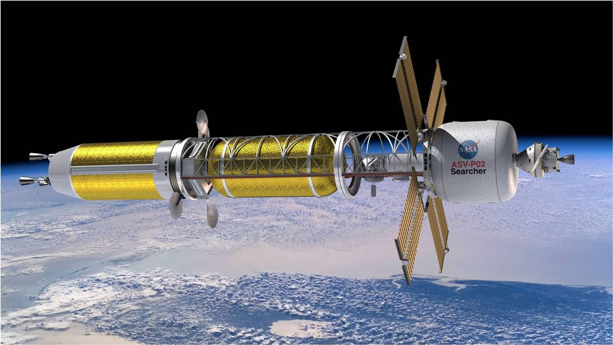Ilustration of a conceptual spacecraft enabled by nuclear thermal propulsion. Credit: NASA