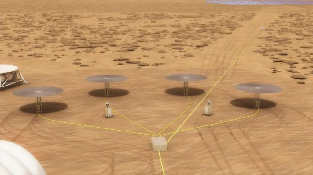 The Kilopower project, a partnership between NASA and the National Nuclear Security Administration, developed this concept for a system with four 10-kilowatt nuclear reactors that could supply power for a long-duration, crewed mission on Mars. Credit: NASA