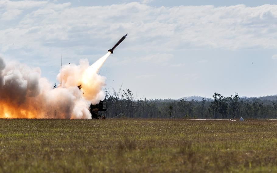 A U.S Army MIM-104 Patriot surface-to-air missile is fired from Australia for the first time ever, Friday, July 16, 2021. The missile was launched from Shoalwater Bay Training Area, Queensland, during the Talisman Sabre exercise. (Australian Defence Force)