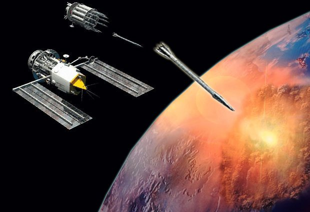 NEXT GENERATION: Rods fired from space which then fall as guided meteorites (Image: Daily Star)