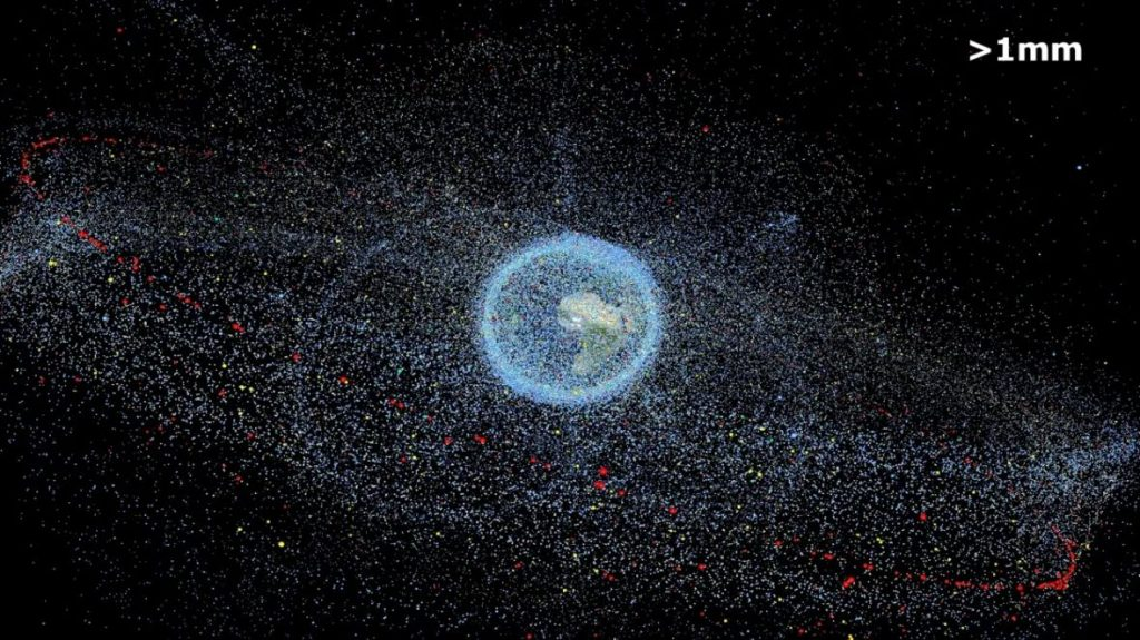 This illustration from the European Space Agency represents all the space debris 1 mm in size and larger that is currently orbiting Earth. A 2018 report compares the problem of rocket emissions to that of space debris — another problem that wasn't tackled when it was small. (IRAS/TU Braunschweig)
