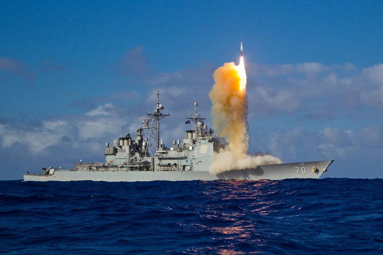 The SM-3 ballistic missile interceptor, here launched from the cruiser USS Lake Erie, has a limited anti-satellite capability. U.S. Navy photo