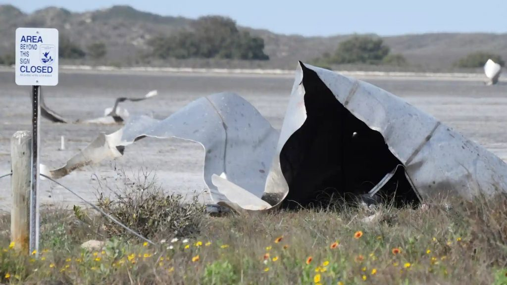 Debris is seen in the Boca Chica national wildlife refuge after the SpaceX Starship prototype rocket failed to land safely on 31 March. Photograph: Gene Blevins/Reuters