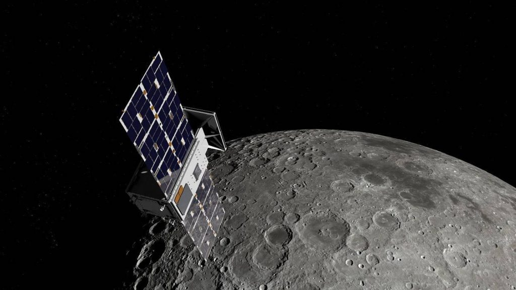 An artist's impression of Nasa's Capstone satellite, which will be ferried into lunar orbit by a Rocket Lab Photon spacecraft later this year. Image / Supplied