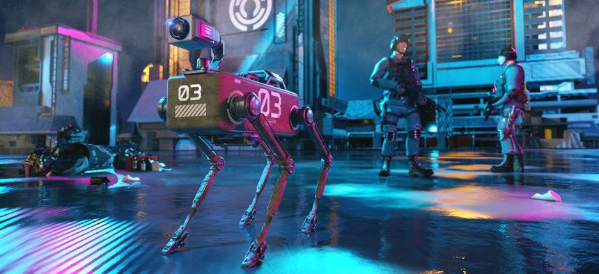 Concept of near future when robot dogs are used to assist police forces on assignments. The robot dog in the image has a camera mounted on top of the body. mikkelwilliam / GETTY
