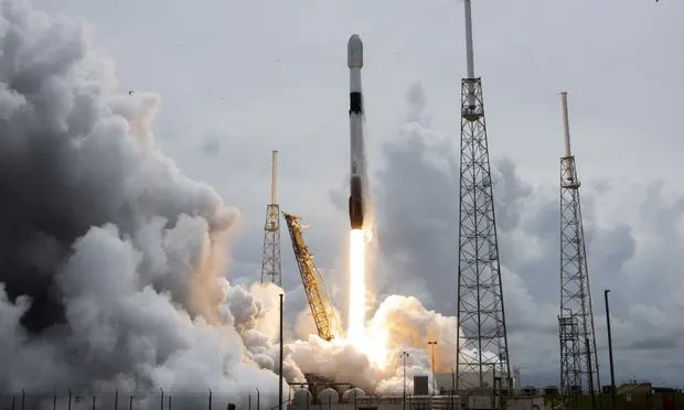 A SpaceX Falcon 9 rocket launches at Cape Canaveral in Florida. Photograph: Joe Marino/UPI/Rex/Shutterstock