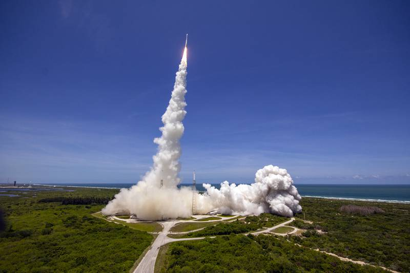 A United Launch Alliance (ULA) Atlas V rocket lifts off May 18 from Cape Canaveral Space Force Station, carrying the U.S. Space Force's SBIRS GEO-5 satellite into orbit. (United Launch Alliance)