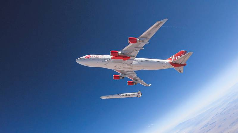 Virgin Orbit's LauncherOne takes off from a 747 aircraft. (Virgin Orbit)