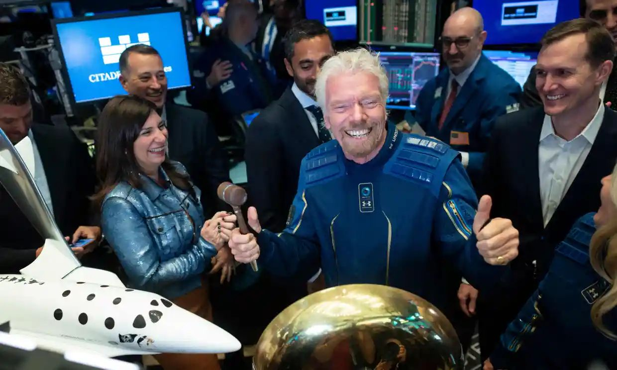 Richard Branson plans to travel to space as early as 11 July on board a Virgin Galactic spacecraft. Photograph: Johannes Eisele/AFP/Getty Images