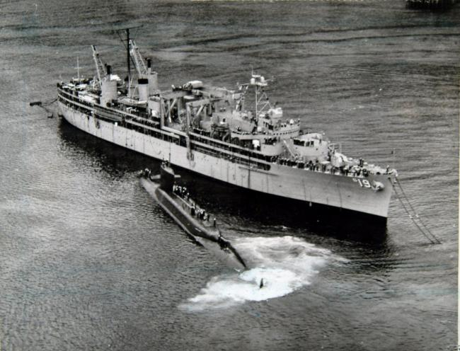 Proteus, the mother ship for American Polaris submarines and their nuclear-tipped missiles, docked in the Holy Loch in March 1961