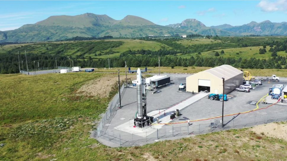 Small satellite launch company Astra's Rocket 3.3 booster stands atop a pad at the Pacific Spaceport Complex on Kodiak Island, Alaska ahead of an attempted launch on Aug. 27, 2021. The rocket aborted the launch at the last second. (Image credit: Astra)