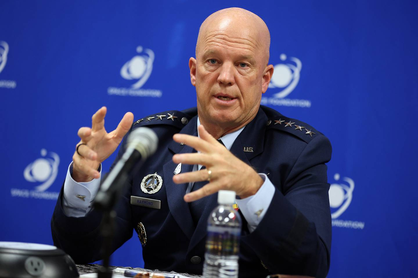Chief of Space Operations Gen. Jay Raymond speaks to reporters at the 36th annual Space Symposium. (Space Foundation)