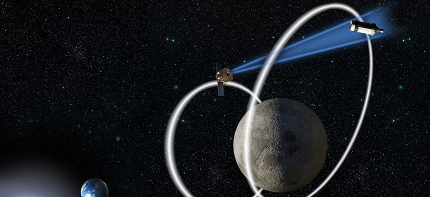 The Air Force Research Laboratory is now exploring cislunar space, which is expected to get more congested as more firms and countries invest in space travel to the moon. Their Cislunar Highway Patrol (CHPS) will experiment with space domain awareness beyond Geosynchronous Earth Orbit. AFRL courtesy image